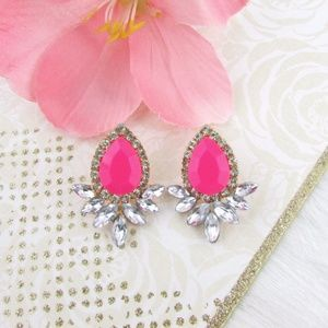 Jewelry - Crystal Pink Faceted Bead Gold Stud Earrings